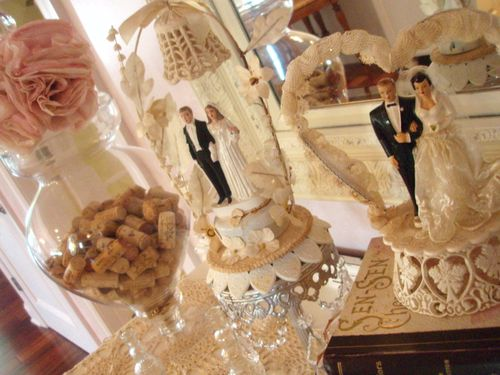 Filled it with all things wedding The apothecary jar is filled with corks