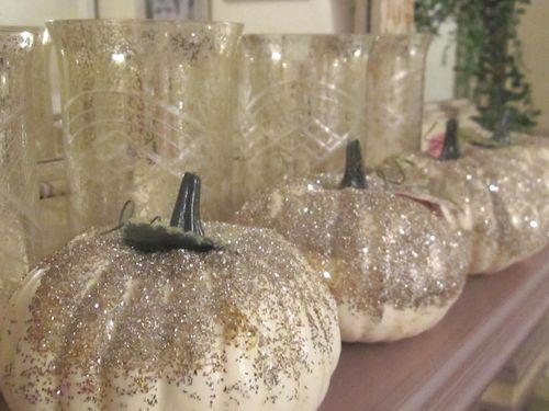 Sparkle pumpkins on mantle