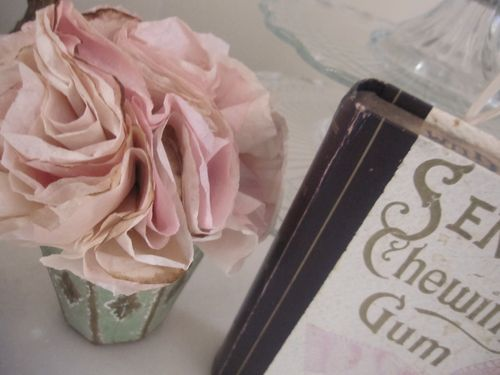 Paper flowers and box