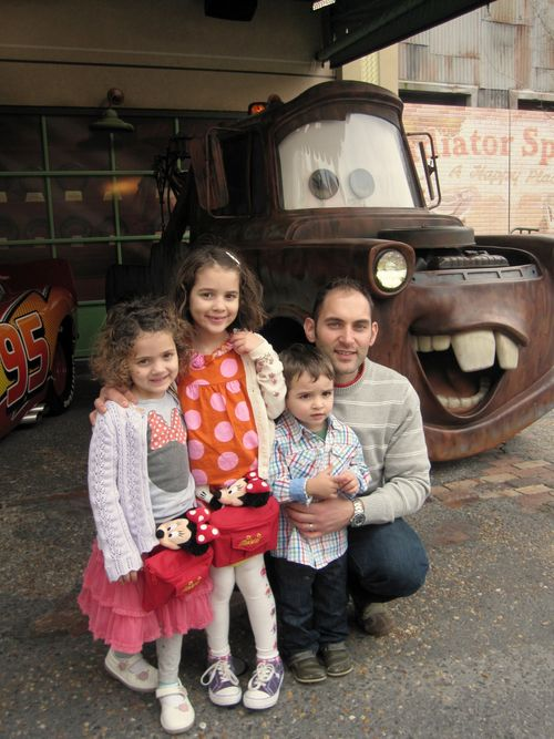 Disney Daddy and kids with Mater