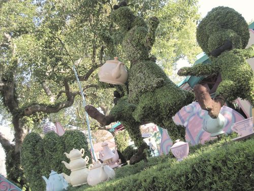 Disney topiary tea party