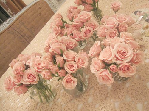 Doll party flowers on table